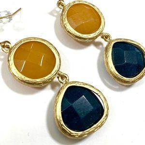Anthropologie Gem Brushed Gold Earrings